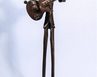 "Mid-Century Modern Giacometti Style 18"" Tall Elongated Rock n Roll Guitar Player Bronze Statue Brutalist Sculpture"