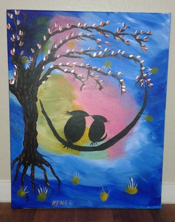 Acrylic Painting Birds in a Tree