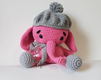 Elephant Toy with Beanie, Large Crochet Elephant, Pink Elephant,  Amigurumi Elephant, Toy Elephant, Handmade Elephant - MADE TO ORDER