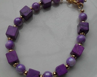 Handcrafted Purple Magnesite and Mystic Coated Shell Bracelet