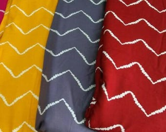 Chevron dribbles, Fabric by the yard,Boho Print, Rayon blend Fabric, Zigzag Print, 4 color ways, folk style, drapes well, rayon cotton blend