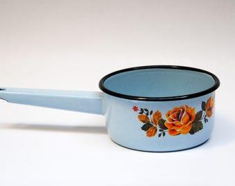 soviet enamel pot enamel cookware rustic kitchen Milk Pail enamel sauce pan pot with handle retro pot russian enamel pot Vintage Housewares