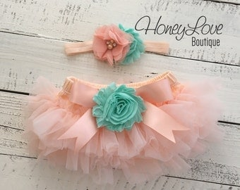 SET Peach tutu skirt bloomers diaper cover, mint/aqua flower headband bow, ruffles all around, newborn infant toddler little baby girl