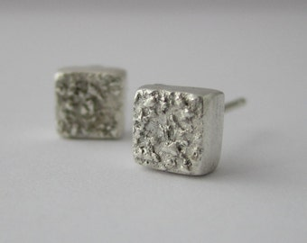 Square Sparkle Simple Stud Earrings - Handmade in Fine Silver, Tiny Silver Square Earrings, Small Square Studs in Fine Silver