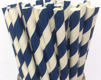 2.85 US Shipping -Navy Blue Paper Straws - Navy Straws - Navy Blue Cake Pop Sticks - Drinking Straws