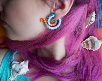 Tentacle fake gauge earrings pink blue orange fake plugs fake gauges octopus earrings