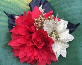 Red Dahlia & Gold Poinsettia Christmas Hair Flower Clip