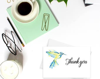 Thank you cards PRINTABLE, Baby Shower thank you cards, Wedding thank you cards, Watercolor cards, Hummingbird cards, Bird card