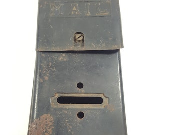 Antique Black Wall Hanging Mail Box. Vintage Post Box. Wall Mount Decoration. Rustic Farmhouse Decorations. Country Home Decor.