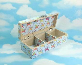 Unicorn Jewellery Box, Unicorn Gift, Decoupage Box, Unicorns, Keepsake Box, Trinket Box, Jewelry Box, Unicorns, Christmas Ideas