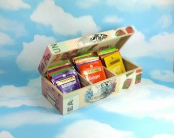 Lovely decoupaged Tea Caddy with 20 Assorted Herbal Teas, perfect Tea Lover Christmas or Birthday Gift