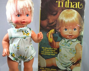 "Vintage Remco Doll ""Baby This 'n That"" & Original Box Plus Accessories 1970"