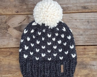 Knitting Pattern - Slouchy Beanie Pattern, Knit Hat pattern, Toque Pattern, Pom Pom Hat pattern, Fair Isle Hat Pattern, Fairbanks Beanie