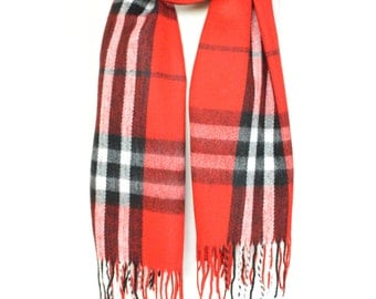 Red Plaid Check Blanket Knit Tartan Checked Scarf,Wrap,Winter Shawl,Oversize Scarf,Chunky Scarf,Christmas Present,Teen Gift