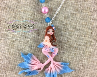 Mother and daughter pink and blue mermaid necklace - Mother's day gift -Stainless silver chain - Polymer clay pendant