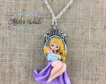 Mother and daughter purple chibi necklace on a silver floral cameo - Mother's day gift -Stainless silver chain - Polymer clay pendant