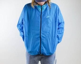 Vintage Grey Tag 80s Blue NIKE Swoosh Zip Up Windbreaker Jacket - Zip Away Hood NIKE Light Jacket - 90s Sports Activewear