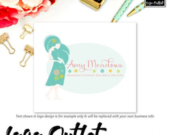 Pregnancy Premade Logo Design - Includes files for Web & Print + Watermarks! Perfect for Doula, Birth Services, Maternity Shop + much more!