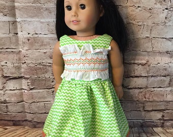 """SALE  Lime Green Smocked Dress  Clothes for 18"""" Dolls like American Girl Dolls"""