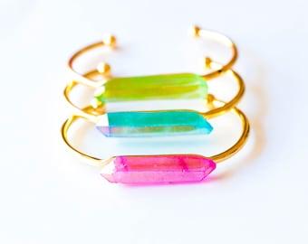 Raw Crystal Bracelet,Crystal Bracelet,Rainbow Crystal Cuff Bracelet,Raw Crystal Jewelry,Quartz Bangle Bracelet,Stone cuff,Gemstone Cuff,BOHO