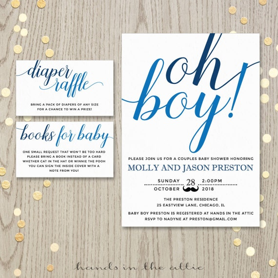 Oh Boy Baby Shower Invitation Card, Couples Shower Invite, Blue Baby Boy Shower Printable
