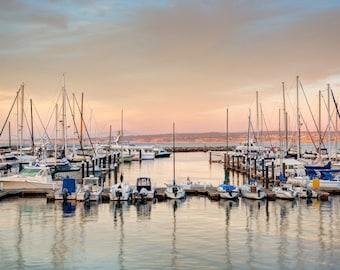 Marina Color - monterey,california,sail boats,orange color,serene,calm,dock,home decor,office decor,warm tones,masts,clouds,amber,peach
