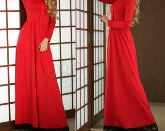 Red Maxi Dress Evening Long Dress Black Lace Long Dress with sleeves