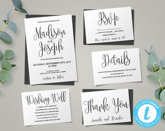wedding invitation template script printable wedding invitation set instant download diy printable invitations