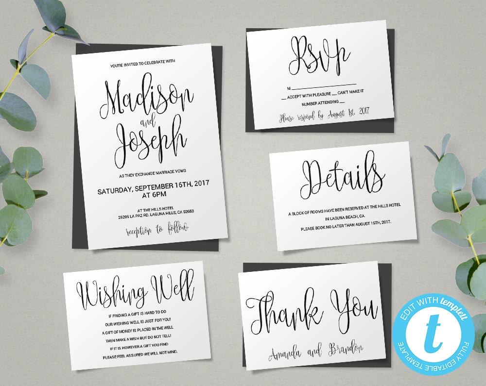 Wedding Invitations In Canada: Wedding Invitation Template Script Printable Wedding