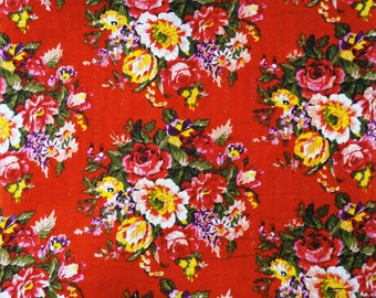 "Dressmaking Fabric, Quilt Material, Floral Print, Red Fabric, Home Decor, Embroidery Fabric, 41"" Inch Cotton Fabric By The Yard ZBC7185F"