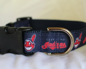 "Cleveland Indians Dog Collar - Side Release Buckle (1"" Width)  Martingale Available"