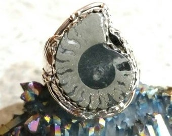 Fossil-Pyrite Ammonite Ring, Size 7 1/2