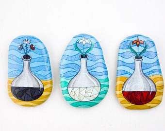 Three stages of the Great Work | Three handpainted stones to hang