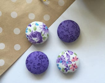 Purple Floral Magnets, Purple Flowers, Purple Decor, Refrigerator Magnets, Fridge Magnets, Office Decor, Shabby Chic Magnets, Kitchen Decor