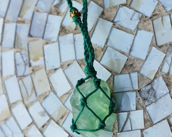 Queen of the Sea - Green Fluorite Macrame Hemp Necklace