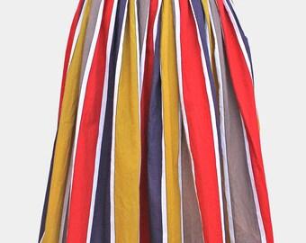 vintage bright stripe summer skirt - red yellow blue white - stripe striped midi skirt - cotton - uk6 uk8 xs s size 6 8 small extra small