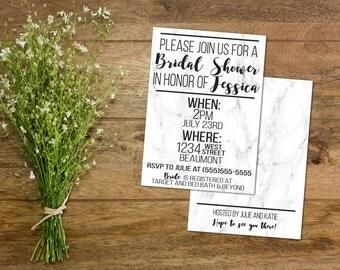 White Marble Invitation // Bridal Shower // Party // Printable // Trendy // Black White // Girly // Simplistic //