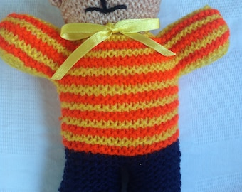 Knitted Teddy Bear - Soft toy, plushie, stuffed animal - Very Colourful - Baby toy
