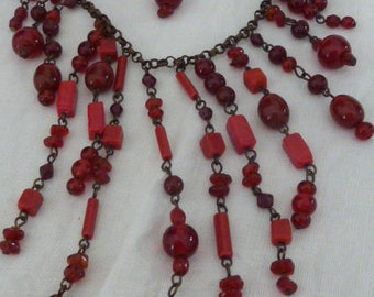 Chunky Red Glass Tiered Multi Strand Bead Beaded Necklace Statement Piece