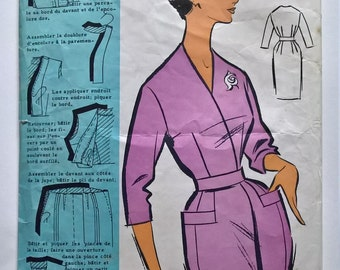 Fabulous 60's French Vintage Sewing Pattern : Woman Shift Wrap Dress Without Collar Size 16-Taille 44 Patrons Modeles 73029