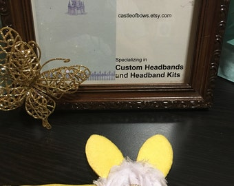 Easter Bunny Headband Yellow Ears with Yellow Pearl and Rhinestone Center and White Shabby Chiffon Flower