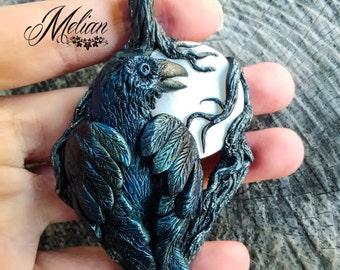 Raven pendant, gothic raven, necklace, white nacre, bird pendant