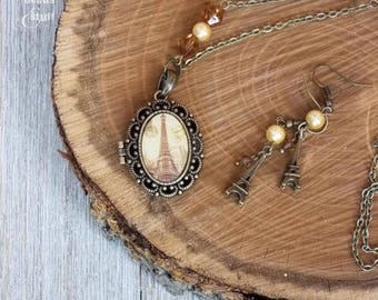 Gold Scallop Locket Necklace | Paris Locket Jewelry Set | Single-Strand Design
