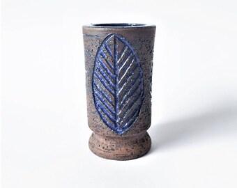 50% OFF SALE Swedish Vintage Laholms Ceramic Glazed Pottery Vase // Made in Sweden // Mid century Modern // Ceramic Leaf Art Blue