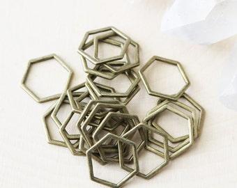 Set of 20, HoneyComb Charm, Bronze Honey Comb Connector, Bronze Connector, Honey Comb, Hexagon Shape, Hexagon Connector,
