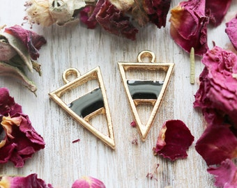 set of 2, gold triangle charms, geometric charms, bright gold charms, enamel charms, 20mm x 13mm