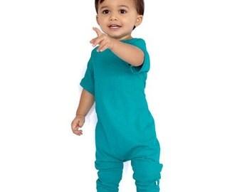 baby romper, toddler romper, toddler boy romper, baby girl romper, baby boy romper, solid romper, striped romper, green romper, JADE