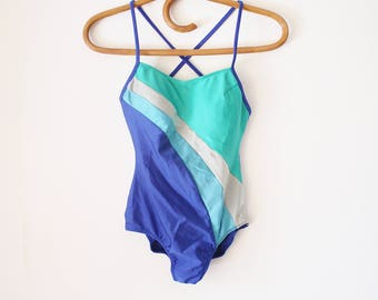 70s one piece swimsuit, Blue vintage bathing suit, XS Small 3374