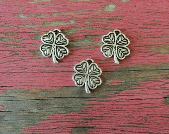 4 Silver Clover Charms / Lucky Charms / Silver 4 Leaf Clover Charms / Irish Charms / St Patricks Day Charms / Silver Clover Charms / KBB9