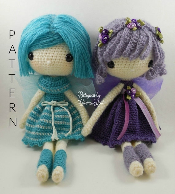 This amigurumi crochet pattern includes both dolls. Fairy Kathy and Fairy Maya. Fairy Kathy and Fairy Maya are 13 inches inches tall.
